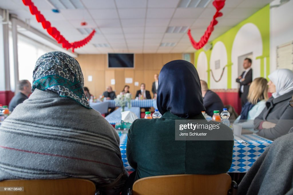 Muslim woman sit in a room in the Muslim cultural center and mosque as Aydan Ozoguz (not pictured), German Federal Commissioner for Immigration, Refugees and Integration visits the center and mosque following a recent attack on February 14, 2018 in Halle an der Saale, Germany. Shots possibly fired with an air gun from a nearby building injured a mosque member earlier this month, only a week after a similar incident. The center has been the target of attacks since 2015 in a city that struggles with right-wing extremism, which has become more virulent since over a million mostly Muslim refugees and migrants came to Germany in 2015-2016.