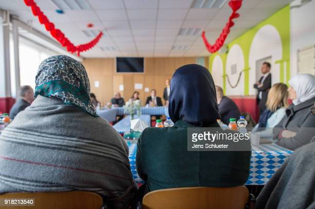 Muslim woman sit in a room in the Muslim cultural center and mosque as Aydan Ozoguz German Federal Commissioner for Immigration Refugees and...