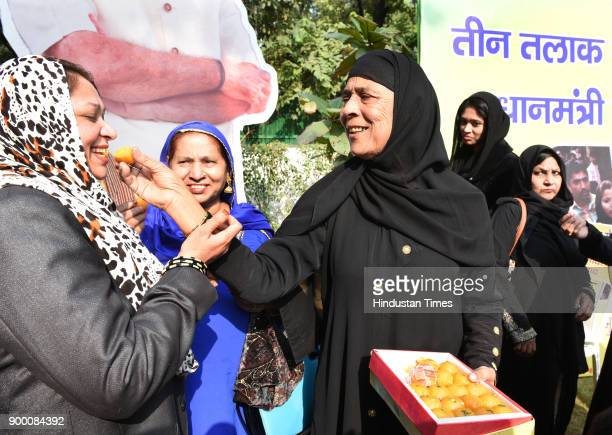 Muslim women at a programme to celebrate the passing of the triple 'Talaq' bill by the Lok Sabha at residence of Union minister of state Vijay Goel...