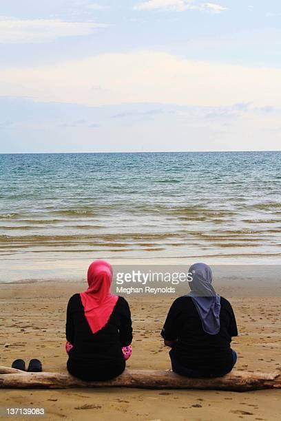 Muslim women at beach