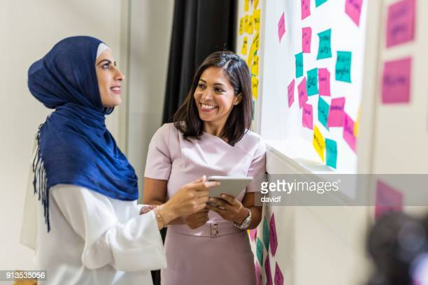 Muslim Women Business People Brainstorming in a Meeting With Notes