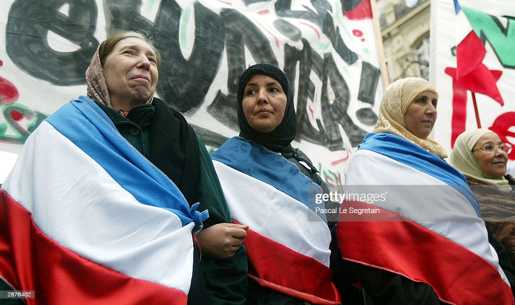 Muslims Rally Against France's Ban On Religious Headscarves  : News Photo