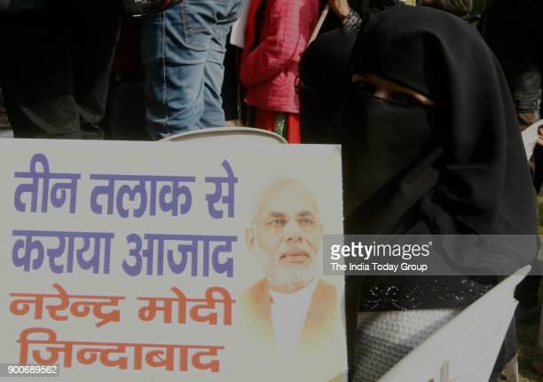 Muslim women during a protest against Triple Talaq in New Delhi