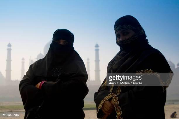 Muslim Women in Black Burka Agra Uttar Pradesh
