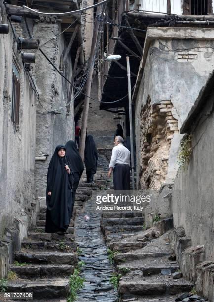 Muslim women in black, Kang village, Iran