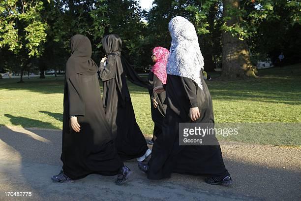Muslim women in Saint James' Park London Great Britain