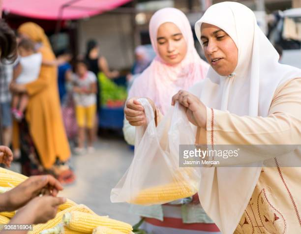 Muslim Women in Street Market
