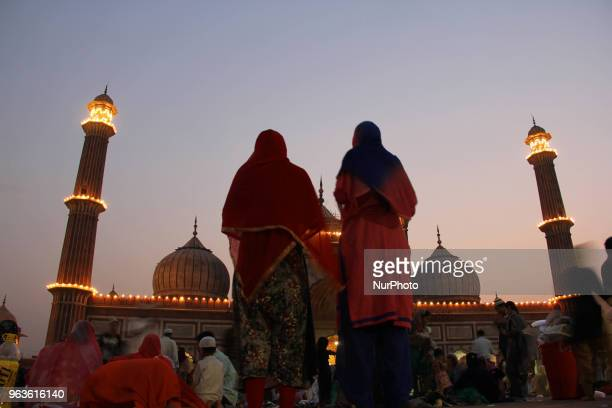 Muslim women offer prayer after breaking their fast at Jama Masjid in the old quarters of Delhi India on 29 May 2018