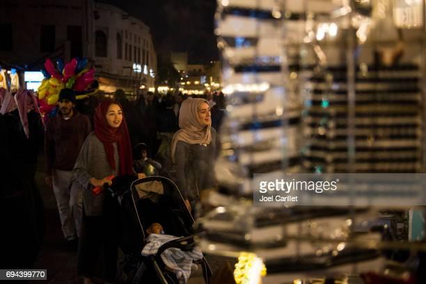 Muslim women shopping in Souk Waqif in Doha, Qatar