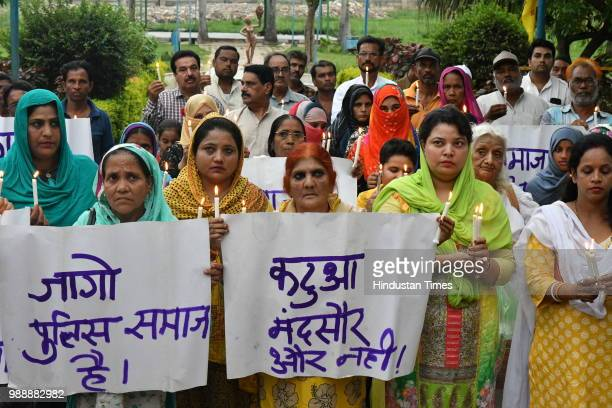 Muslim women take part in a protest against rape in Mandsaur and Kathua on July 1 2018 in Bhopal India The gang rape led to massive protests with...