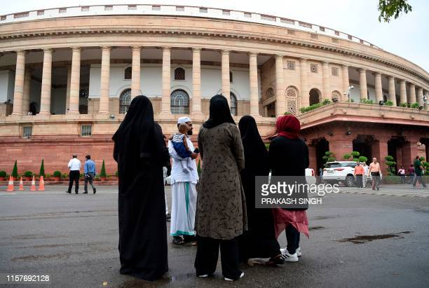 Muslim women visit the Parliament house to watch the current session from viewer's gallery in New Delhi on July 26 2019 India's Parliament Lok Sabha...