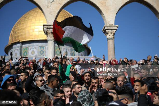Muslim worshipers gathering to perform the first Friday Prayer at alAqsa Mosque compound after US President Donald Trumps announcement to recognize...