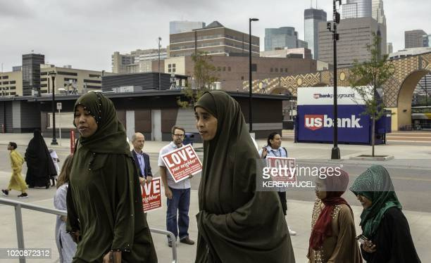 Muslim worshippers are welcomed at the US Bank Stadium for prayer and festivites of Eid alAdha on August 21 2018 in Minneapolis Minnesota The US Bank...