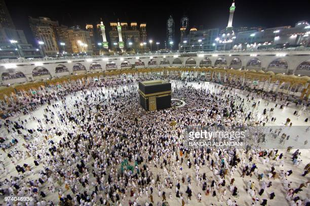Muslim worshippers gather at the Grand Mosque in Islam's holiest city of Mecca on June 14 2018 as Muslims perform the Umrah or lesser pilgrimages...