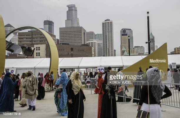 Muslim worshippers gather at the US Bank Stadium during Eid alAdha prayers and festivities on August 21 2018 in Minneapolis Minnesota The US Bank...