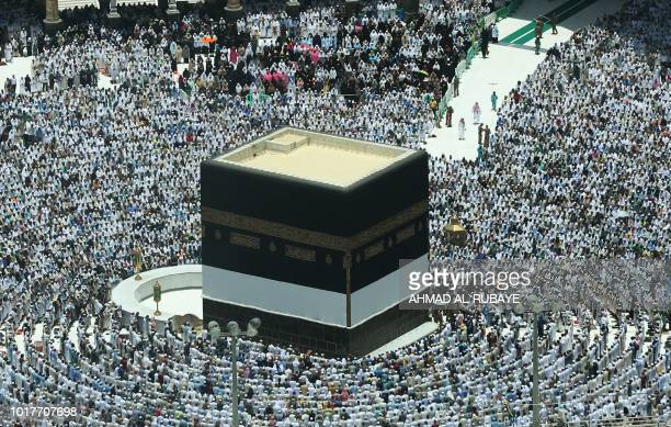 TOPSHOT Muslim worshippers pray around the Kaaba Islam's holiest shrine at the Grand Mosque in Saudi Arabia's holy city of Mecca on August 16 prior...