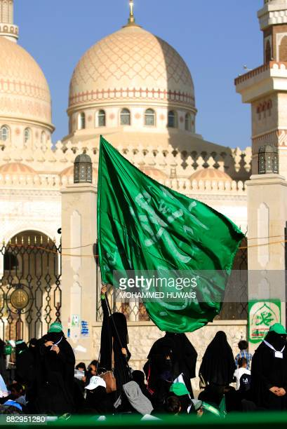 Muslim Yemeni women attend a rally outside alSaleh mosque in the capital Sanaa on the occasion of the Prophet Mohammed's birthday on November 30 2017...