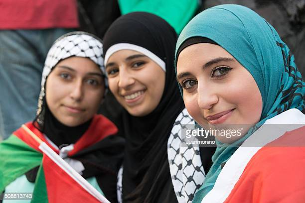 muslim young women - palestinian stock pictures, royalty-free photos & images