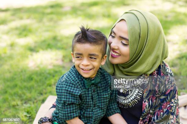 #MuslimGirl And Her Son Having Fun In The Park