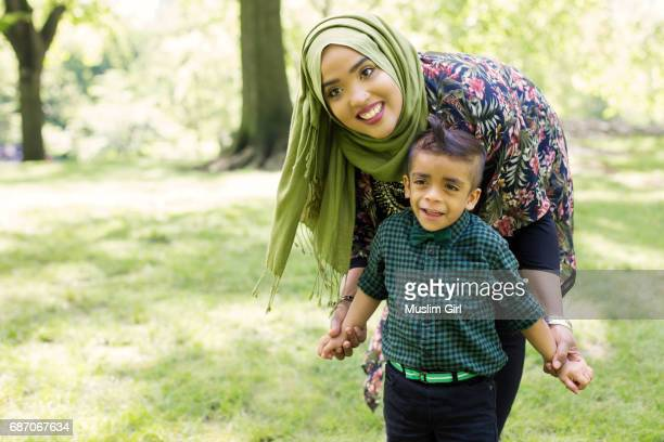 #MuslimGirl And Her Son Playing In The Park