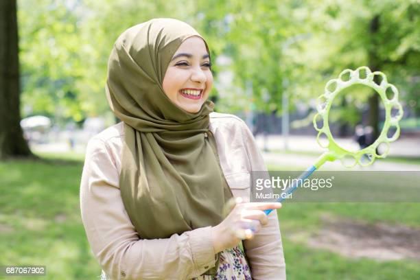 #MuslimGirl Blowing Bubbles