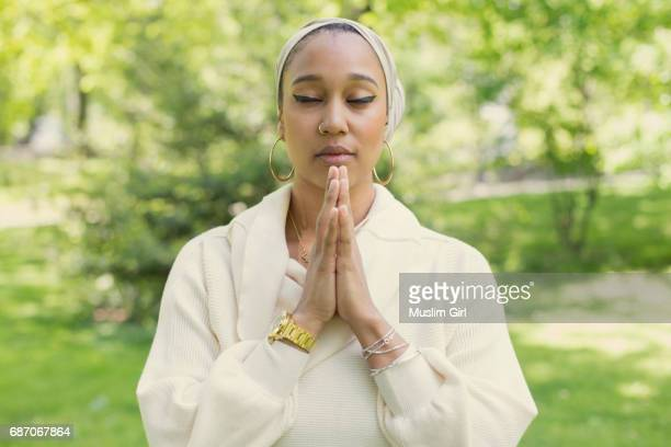 #muslimgirl in yoga pose - muslimgirlcollection stock pictures, royalty-free photos & images