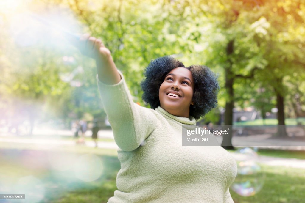 #MuslimGirl With Bubbles : Stock Photo