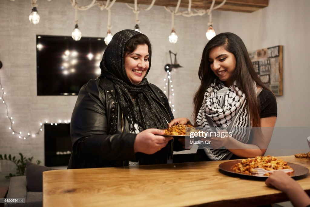 #MuslimGirls Iftar for Ramadan - Breaking Fast : Stock Photo