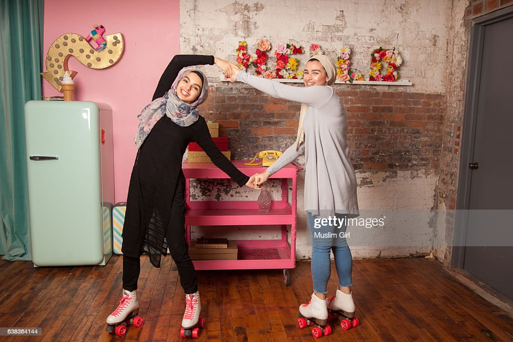 #MuslimGirls Roller Skating : Stock Photo