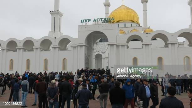 Muslims after performing the Salat al Eid prayer at NurAstana Mosque in Astana Kazakhstan during the first day of the Eid al Adha on August 21 2018...