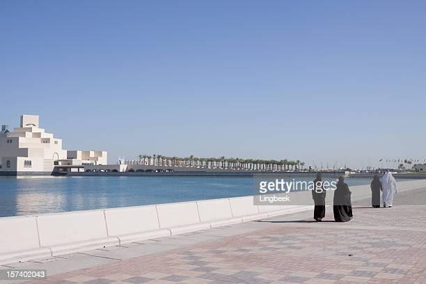 Muslims along Doha Corniche