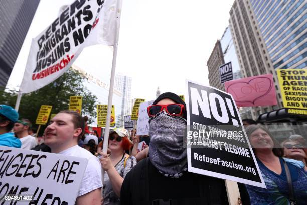 Muslims antiTrump and antiracist activists stage a protest against a simultaneous 'antiIslam' rally that organized by 'ACT for America' known with...