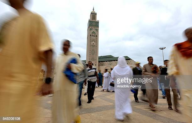 Muslims are gathering to perform Eid alFitr prayer at Hassan II Mosque in Casablanca Morocco on July 06 2016 Muslims around the world are celebrating...