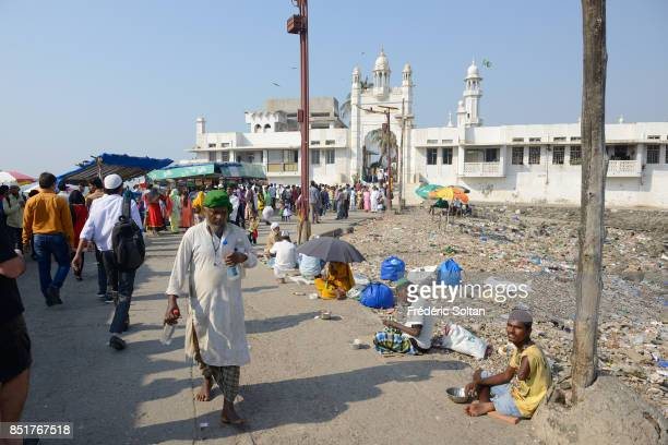 Muslims are going to Haji Ali Mausoleum in Mumbai on February 16 2015 in Mumbai India