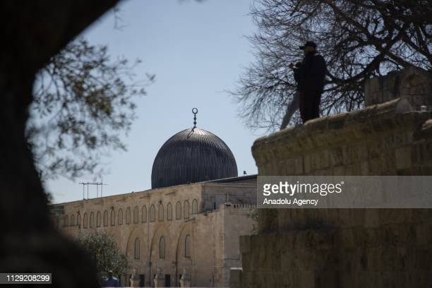 Muslims arrive to perform the Friday prayer at AlAqsa Mosque Compound in Jerusalem on March 08 2019