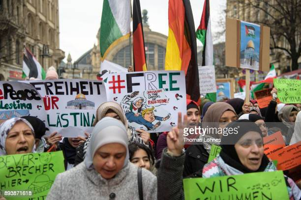 Muslims attend a gathering to protest against the recent announcement by US President Donald Trump to recognize Jerusalem as the capital of Israel on...