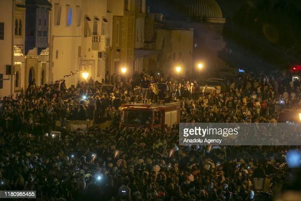 Muslims attend a rally to mark the Mawlid alNabi around Uqba Ibn Nafi Mosque in Kairouan Tunisia on November 09 2019