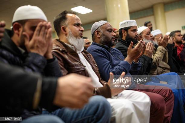 Muslims attend a vigil at the East London Mosque for the victims of the New Zealand mosque attacks on March 15 2019 in London England Patrols have...
