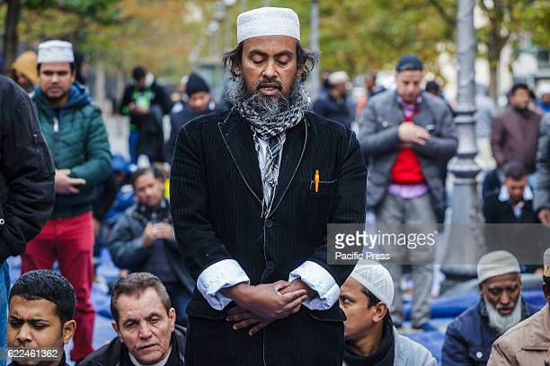 Muslims attend Friday prayer during a demonstration in Vittorio Emanuele Square in Rome Italy The Muslim community take to streets to pray and to...