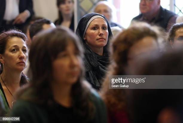 Muslims attend Friday prayers during the opening of the IbnRushdGoethe Mosque on June 16 2017 in Berlin Germany The new liberal mosque located for...