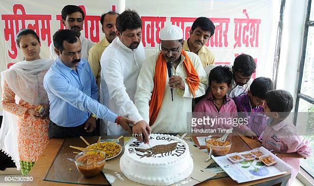 Muslims belonging to Muslim Rashtriya Manch Uttar Pradesh offering goat cake sacrifice on Bakrid at Balaganj area of old city on September 13 2016 in...