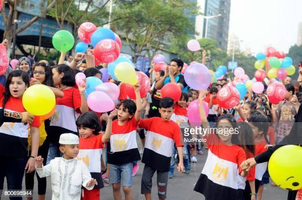 Muslims celebrate Eid alFitr marking the holy month Ramadan in Mostafa Mahmoud Mosque Giza Egypt on 25 June 2017 Egyptian Muslims offer Eid alFitr...