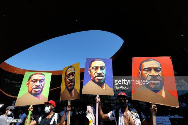 Muslims demonstrate against police brutality and racial injustice at Barclay's Center in the Brooklyn Borough of New York City, US on June 13, 2020.
