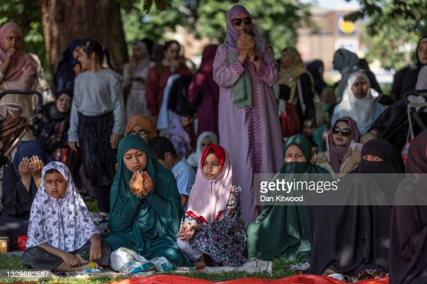 Muslims families celebrate Eid Ul Adha in Southall Park on July 20, 2021 in Southall, England.