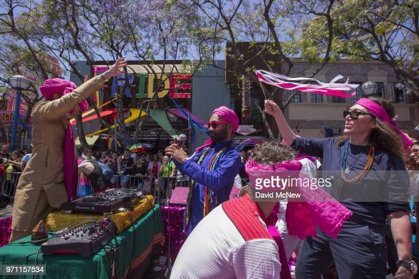 Muslims for Progressive Values participate in the 48th annual LA Pride Parade on June 10 in the Hollywood section of Los Angeles and West Hollywood...