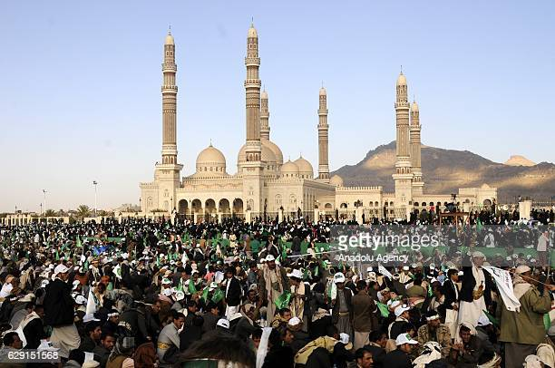 Muslims gather at alSabin Square during the celebrations for Mawlid alNabi birth anniversary of Muslims' beloved Prophet Mohammad in Sanaa Yemen on...