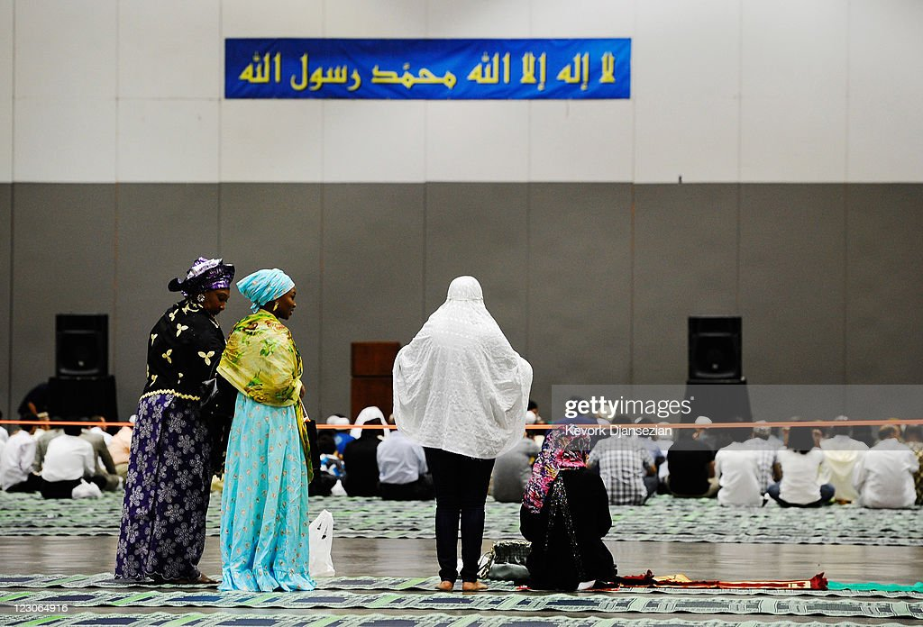Muslims gather for the special Eid ul-Fitr morning prayer at the Los Angeles Convention Center on August 30, 2011 in Los Angeles, California. The three-day holiday, Eid ul-Fitr, marks the end of Ramadan, the Islamic month of fasting and begins after the sighting of a new crescent moon.