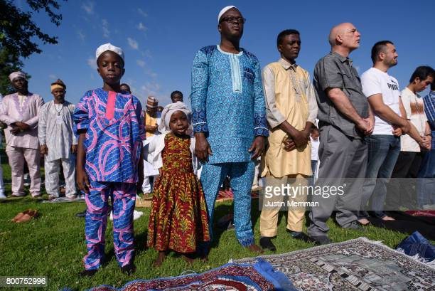 Muslims gather in prayer to celebrate Eid alFitr which marks the end of Ramadan on June 25 2017 in Pittsburgh Pennsylvania The celebration marks the...