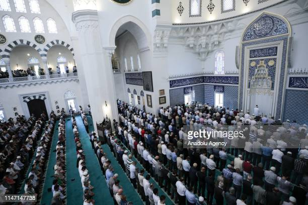Muslims gather to perform last Friday prayer of the Islamic Holy fasting month of Ramadan at Melike Hatun Mosque in Ankara Turkey on May 31 2019
