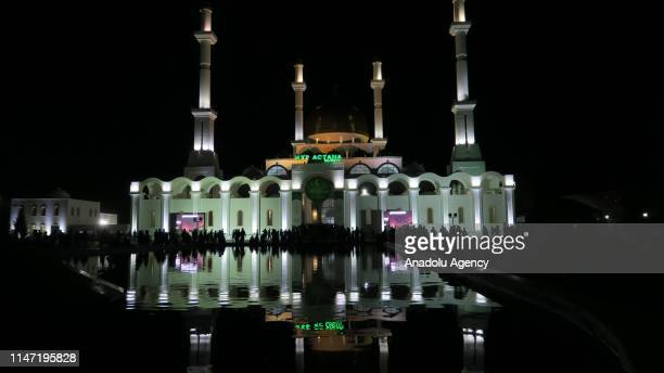 Muslims gather to perform 'Tarawih' prayer at Nur Astana Mosque on the Laylat alQadr which commemorates the first revelation of the Holy Quran to...